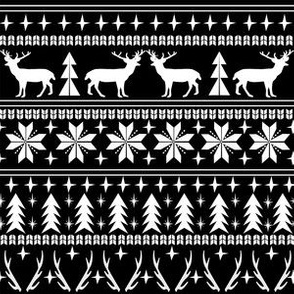 christmas deer fair isle traditional holiday fabric winter antlers black