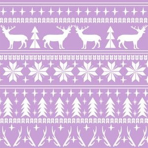 christmas deer fair isle traditional holiday fabric winter antlers purple