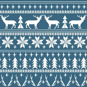 christmas deer fair isle traditional holiday fabric winter antlers blue white
