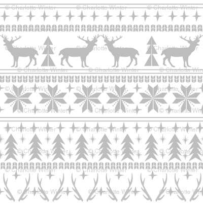 christmas deer fair isle traditional holiday fabric winter antlers grey white