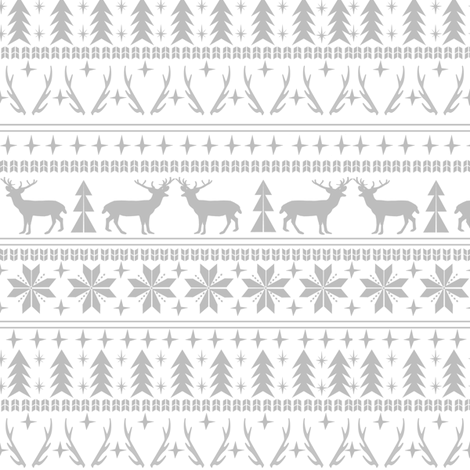 christmas deer fair isle traditional holiday fabric winter antlers grey white fabric by charlottewinter on Spoonflower - custom fabric