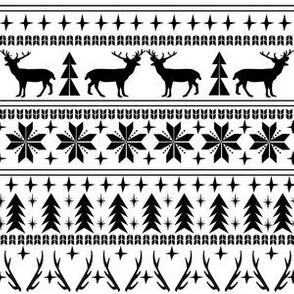 christmas deer fair isle traditional holiday fabric winter antlers black and white