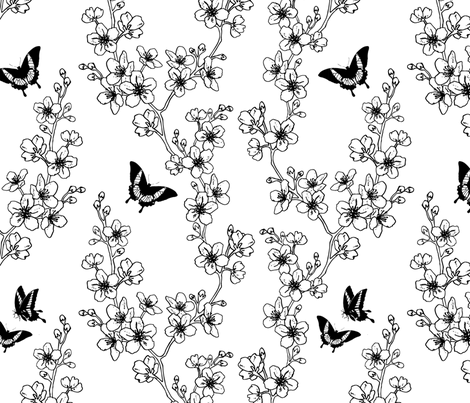 Sakura Butterflies fabric by adenaj on Spoonflower - custom fabric
