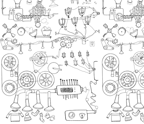 yarn machine coloring book fabric by ghouk on Spoonflower - custom fabric