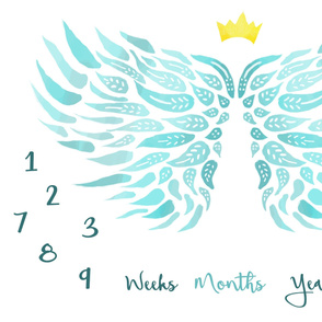 milestone-angel-teal-growth blanket