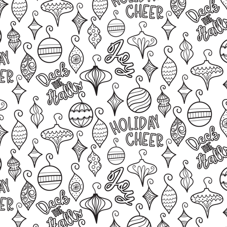coloring book christmas ornaments fabric by printablecrush on spoonflower custom fabric
