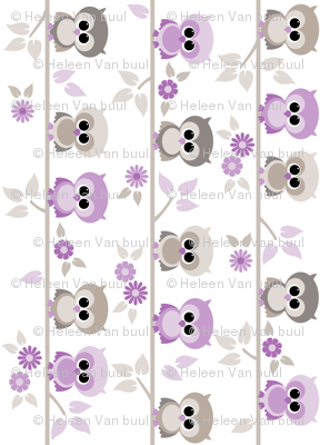 Baby owls in purple - railroaded