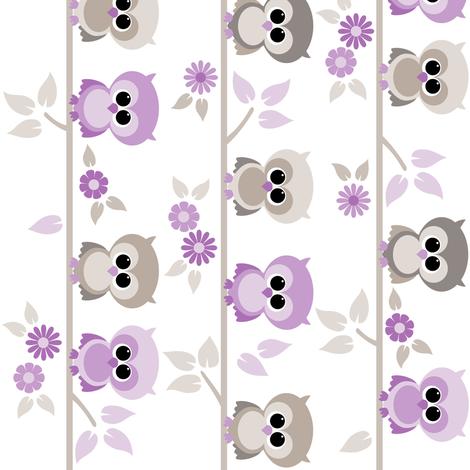 Baby owls in purple - railroaded fabric by heleenvanbuul on Spoonflower - custom fabric