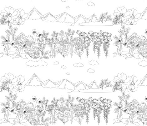 seascape in lineart fabric by anino on Spoonflower - custom fabric