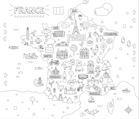 France_map fabric by la_fabriken on Spoonflower - custom fabric