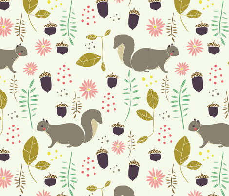 Squirrel Fun  fabric by gingiber on Spoonflower - custom fabric