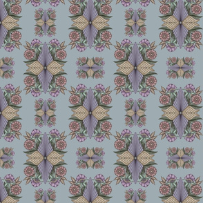 Fantasy Floral in Smokey Lavender on Slate Blue