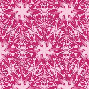 ★ PIRATE SKULL GEOMETRIC PATTERN ★ Hot Pink - Small Scale / Collection : Funky Pirates - Skull and Crossbones Prints 2