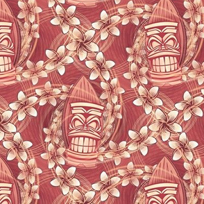 ★ HAWAII TIKI ★ Red - Small Scale / Collection : Hawaiian Trip - Plumeria & Tiki for Aloha Shirt Print
