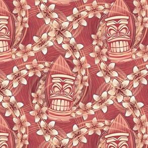 ★ HAWAII TIKI ★ Red - Small Scale / Collection : Hawaiian Trip - Plumeria & Tiki for Aloha Shirt Print