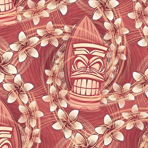 ★ HAWAII TIKI ★ Red - Medium Scale / Collection : Hawaiian Trip - Plumeria & Tiki for Aloha Shirt Print
