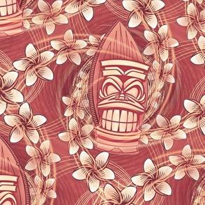 ★ HAWAII TIKI ★ Red - Medium Scale / Collection : Hawaiian Trip - Plumeria & Tiki for Aloha Shirt Print