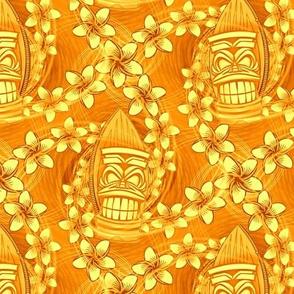★ HAWAII TIKI ★ Yellow - Small Scale / Collection : Hawaiian Trip - Plumeria & Tiki for Aloha Shirt Print