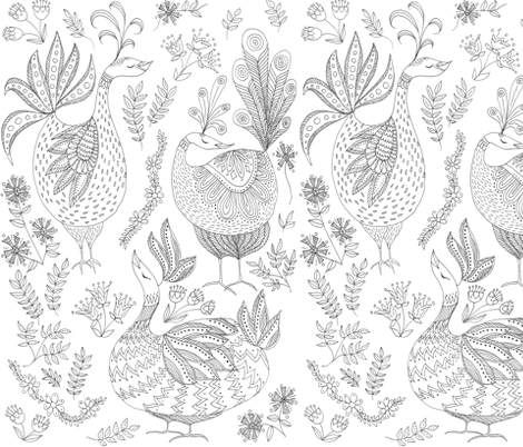 Preening Partridges fabric by abearcub on Spoonflower - custom fabric