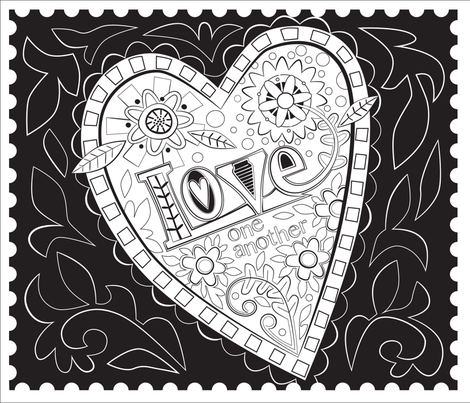 Heart Doodle fabric by lily_studio on Spoonflower - custom fabric