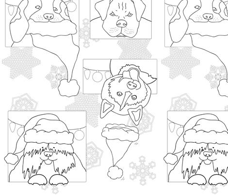 Dogs Wearing Santa Hats fabric by kozihut on Spoonflower - custom fabric