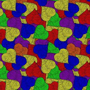 yarn heart pile