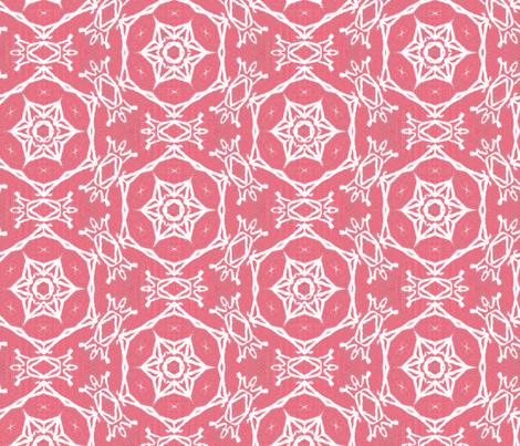 Winter snowflake cherry red fabric by wren_leyland on Spoonflower - custom fabric