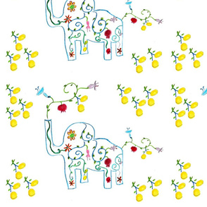Happy Lemons with Blooming  Elephant