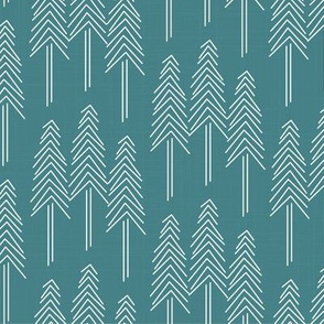 Forest - Pine Trees Teal White