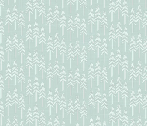 Forest - Pine Trees Mint White fabric by docious_designs_by_patricia_braune on Spoonflower - custom fabric
