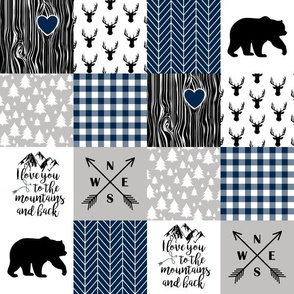 3in To The Mountains - Wholecloth Cheater Quilt - Navy