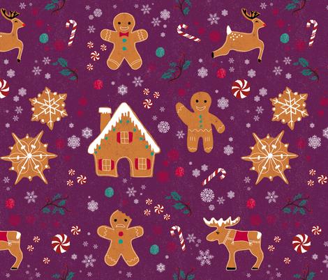 Gingerbread pattern fabric by flyinglizard on Spoonflower - custom fabric