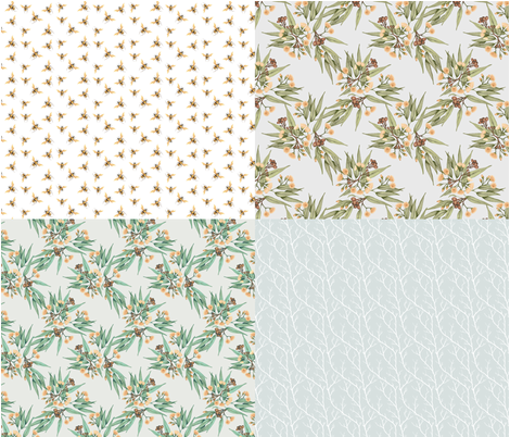 FatQuarters, Desert Ochre Part 2 // Australian botanicals and bees in natural colours fabric by thistleandfox on Spoonflower - custom fabric