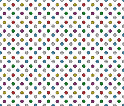 Bubblegum Rainbow Yarn Polka fabric by 2catdesign on Spoonflower - custom fabric