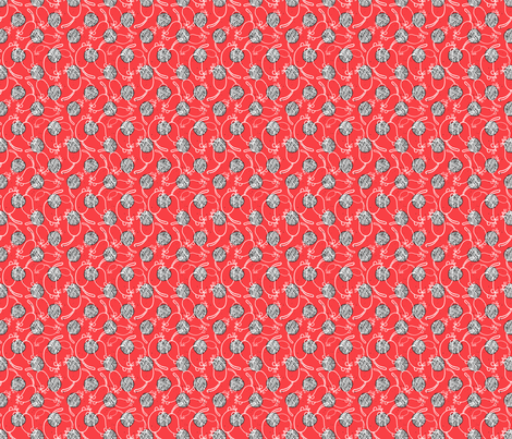 Bubblegum Red Yarn and Mouse Overlay fabric by 2catdesign on Spoonflower - custom fabric
