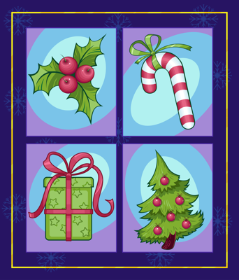 set of colorful Christmas images