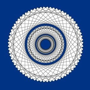 Spirograph No. 11 in Black on Royal Blue