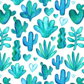 Watercolor succulents pattern