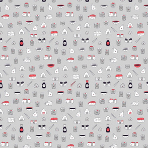 kawaii sushi pattern grey