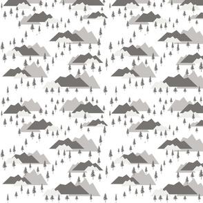 Mountains Trees Gray