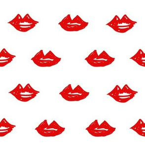 lips // valentines day fabric cute love themes pattern red lipstick red