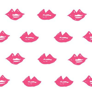 lips // valentines day fabric cute love themes pattern red lipstick pink
