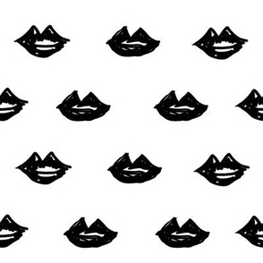 lips // valentines day fabric cute love themes pattern red lipstick white black