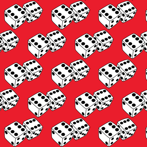 dice-on-red fabric by lilcubby on Spoonflower - custom fabric