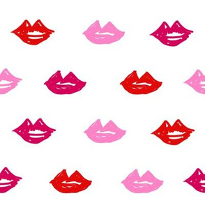 lips // valentines day fabric cute love themes pattern red lipstick white multi