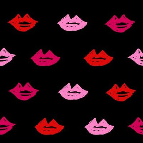 lips // valentines day fabric cute love themes pattern red lipstick black