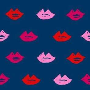 lips // valentines day fabric cute love themes pattern red lipstick navy