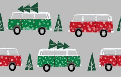christmas van hippie bus christmas tree tradition holiday fabric grey green