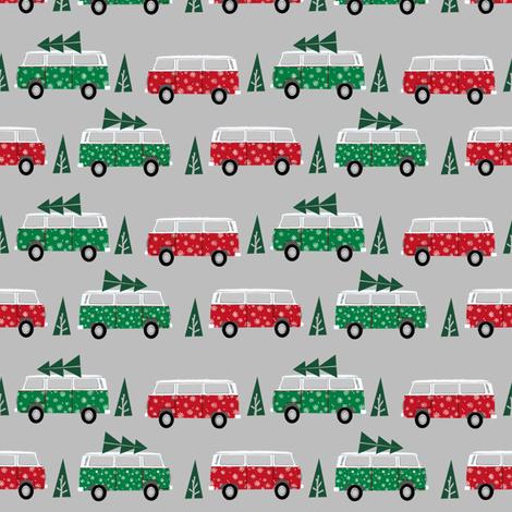 christmas van hippie bus christmas tree tradition holiday fabric grey green fabric by charlottewinter on Spoonflower - custom fabric