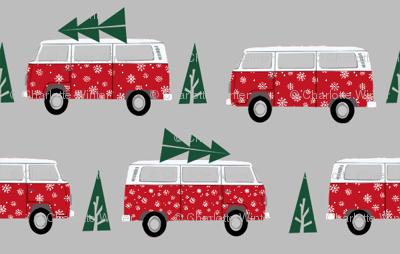 christmas van hippie bus christmas tree tradition holiday fabric red